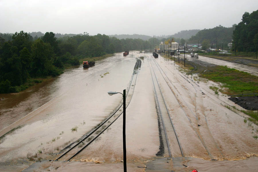 Flooded roads and railroad trails
